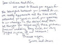 Testimonials for Nishima Kaplan's ArtKetubah.com