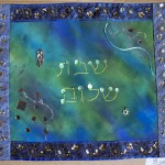 Challah Covers - Blues with Greens | Artketubah.com by Nishima Kaplan