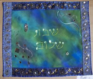 Challah Covers - Blues with Greens | Artketubah.com by Nishima Kaplan